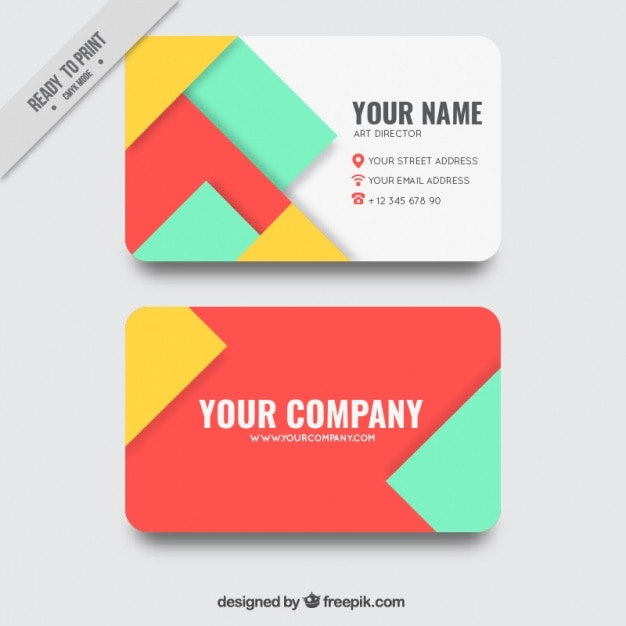Business card with geometric shapes in several colors vector free business card with geometric shapes in several colors free vector ccuart Choice Image