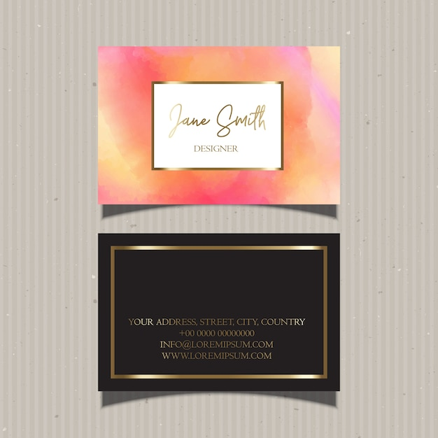 Business card with gold border and watercolors vector free download business card with gold border and watercolors free vector reheart Image collections