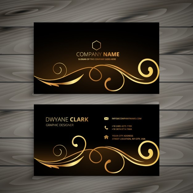 business card with golden ornaments vector free download