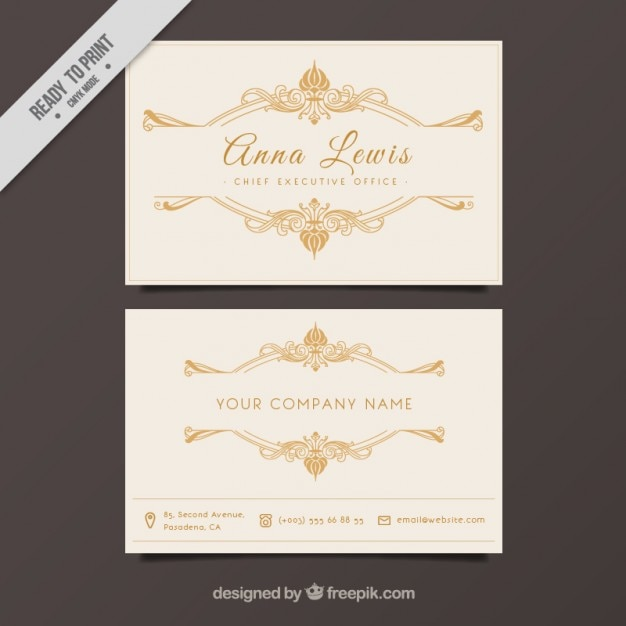 Business card with golden ornaments Free Vector