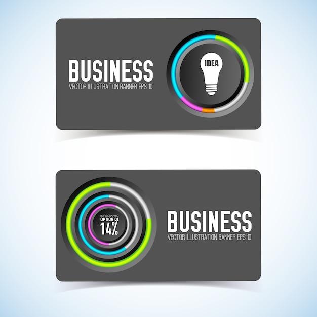 Визитная карточка с серыми кругами, красочная окантовка значка лампочки и процент изолированы Бесплатные векторы