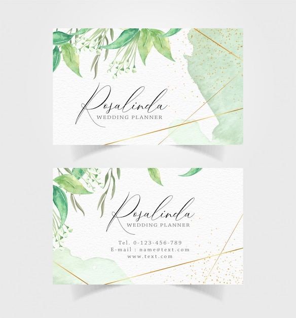 Business card with green floral and splash watercolor background Premium Vector