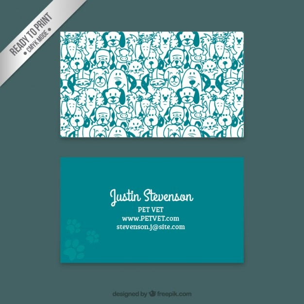 Business card with hand drawn dogs Premium Vector
