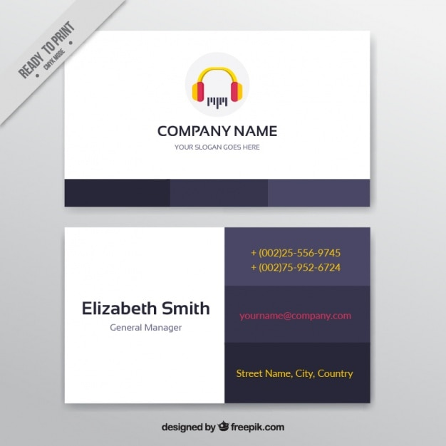 Business card with headphones for a music studio vector free download business card with headphones for a music studio free vector colourmoves