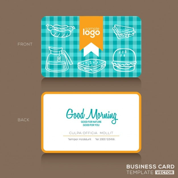Business Card With Kitchen Elements Free Vector