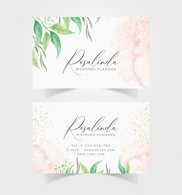 Business card with leaves watercolor Premium Vector