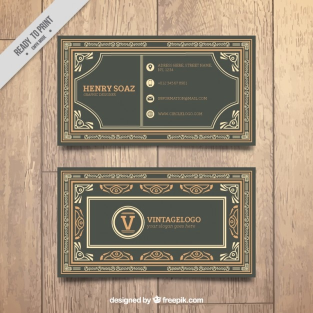 Business card with logo vintage