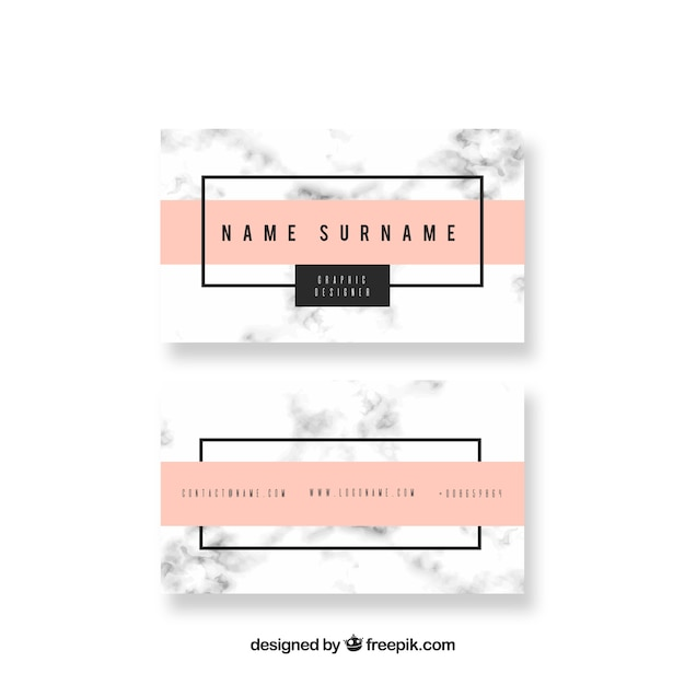 Business card with marble texture  Free Vector
