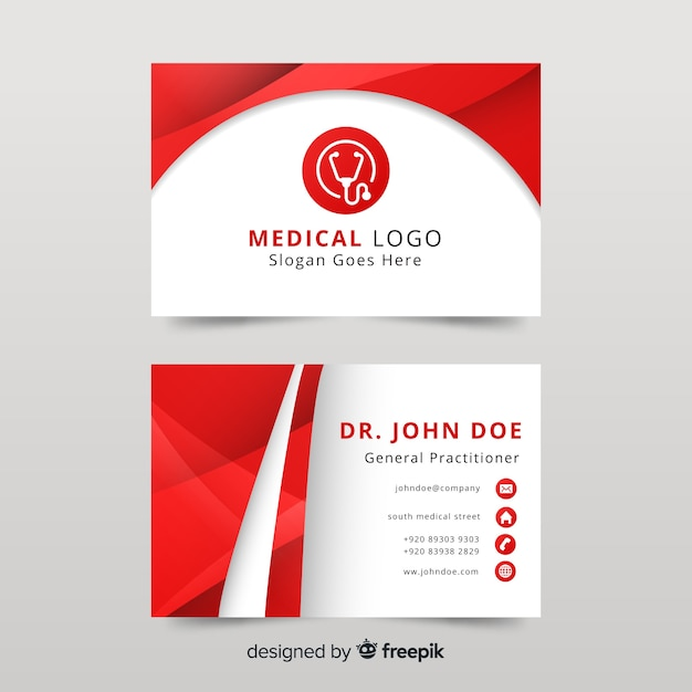 Business card with medical concept in modern style Free Vector