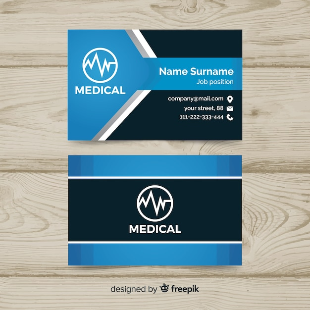 Business card with medical concept in professional style Free Vector