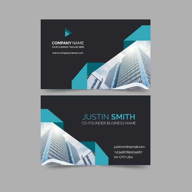 Business card with minimalist shapes and photo template Free Vector