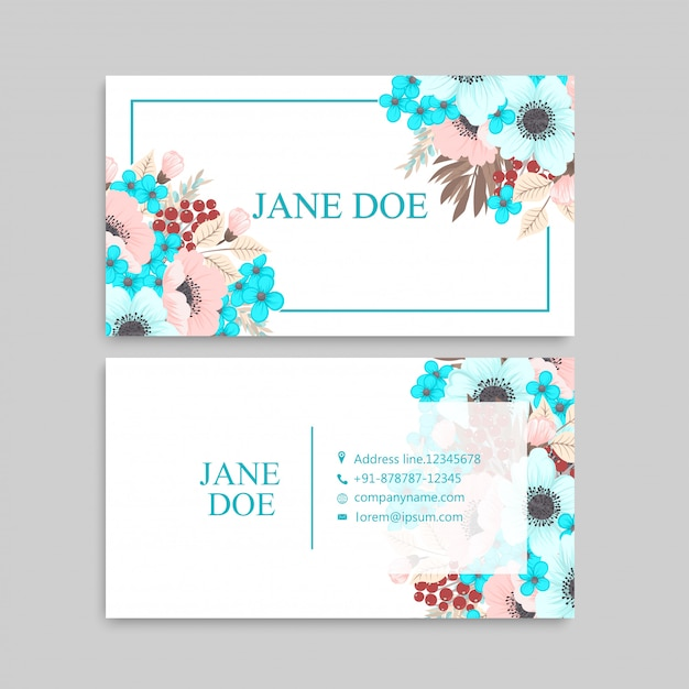 Business card with mint and pink flowers Free Vector