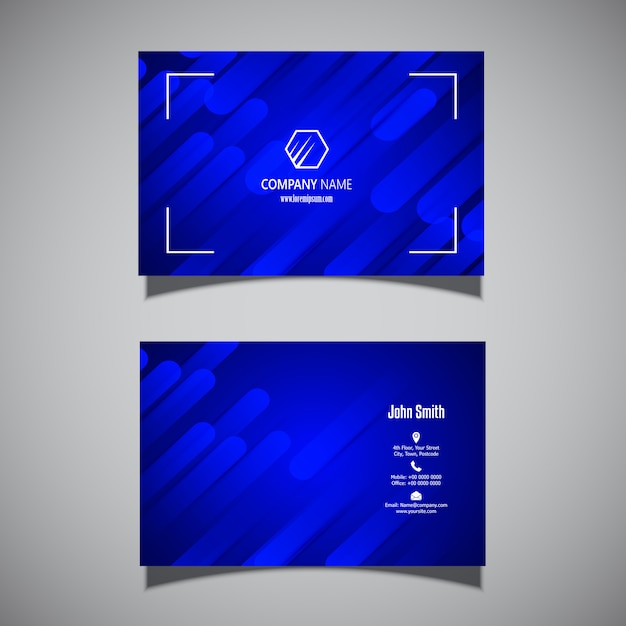 Business card with a modern electric blue design Free Vector