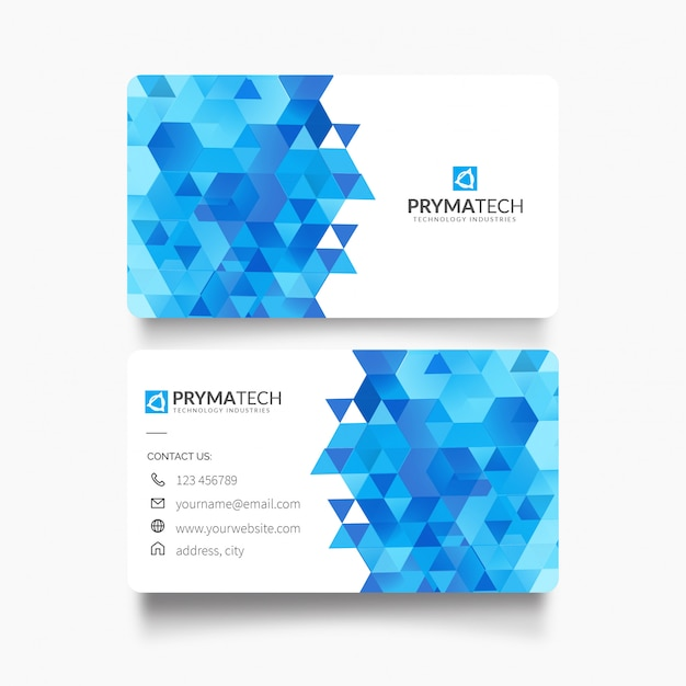 Business card with modern shapes Free Vector