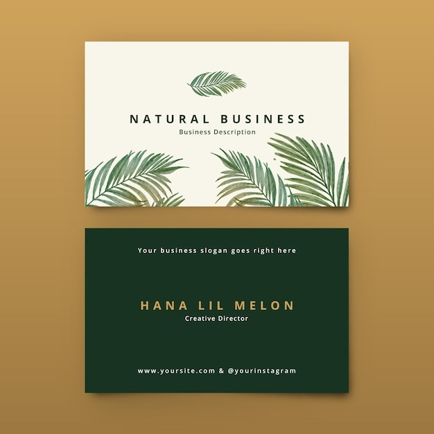 Business card with natural motifs Free Vector