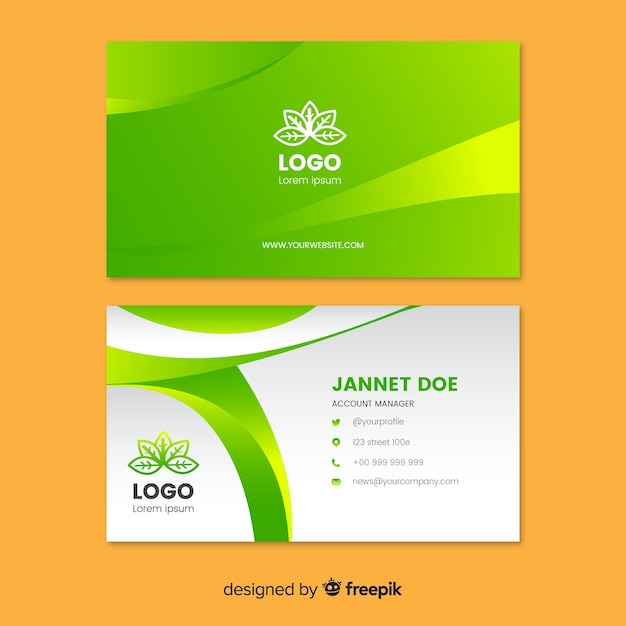 Business card with nature concept Free Vector