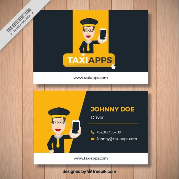 Business card with a nice taxi driver Free Vector