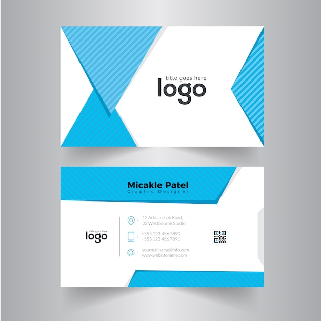 Business card with pattern in cyan color vector premium download business card with pattern in cyan color premium vector colourmoves
