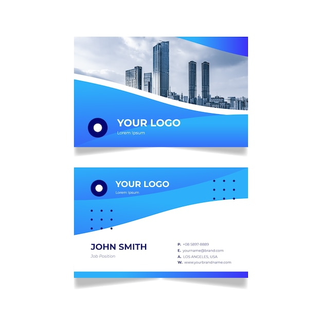 Business card with photo abstract design Free Vector