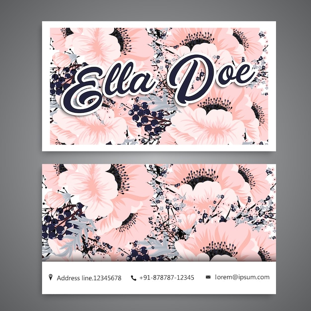 Business card with pink flowers Free Vector