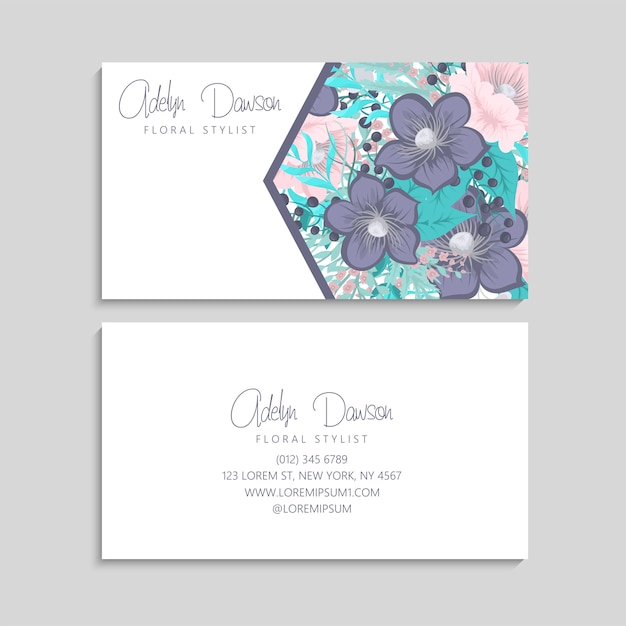 Business card with pink and mint flowers. template Free Vector
