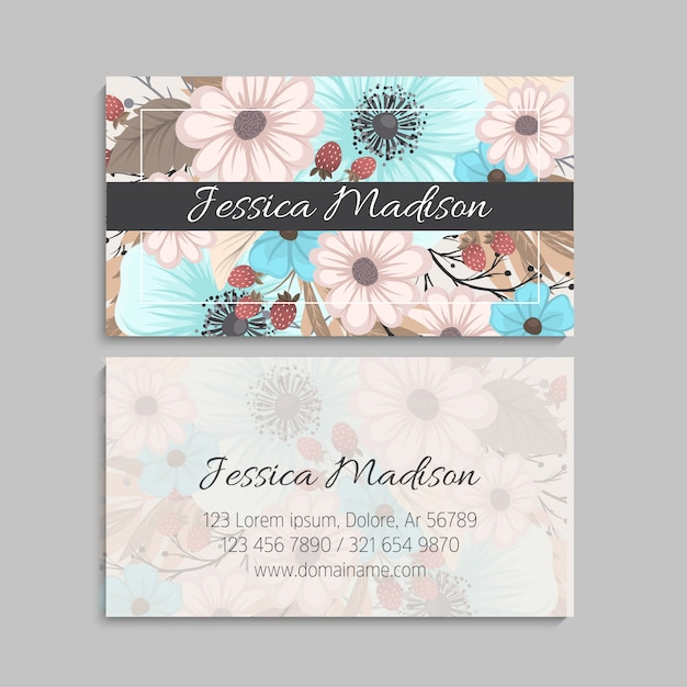 Business card with pink and mint flowers. Free Vector