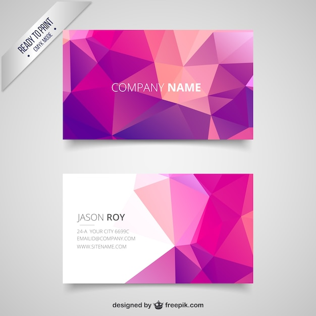 Business card with pink polygons vector free download business card with pink polygons free vector colourmoves
