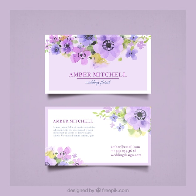 Business card with pretty watercolor flowers Free Vector