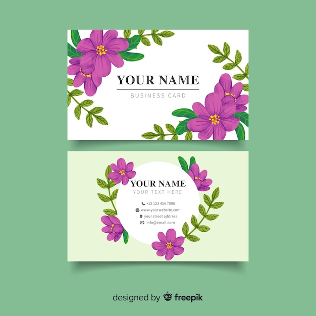Business card with purple flowers Free Vector