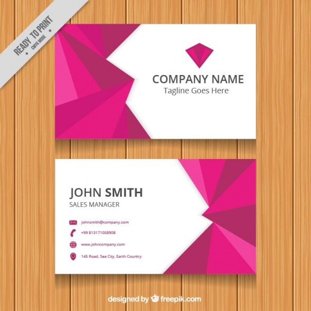 Business card with purple geometric shapes vector free for Business cards shapes
