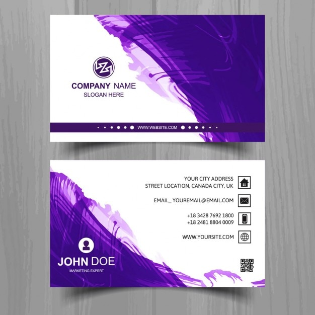 Business card with purple watercolor vector free download for Purple business cards