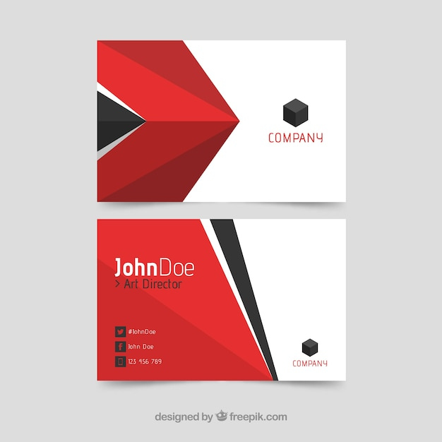 Business card with red and black shapes vector free download business card with red and black shapes free vector reheart Images