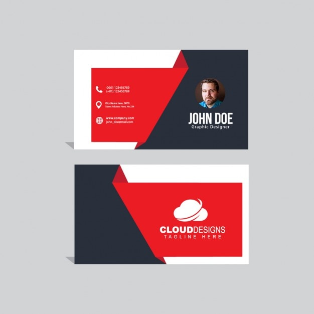 Business card with red geometric shapes Free Vector