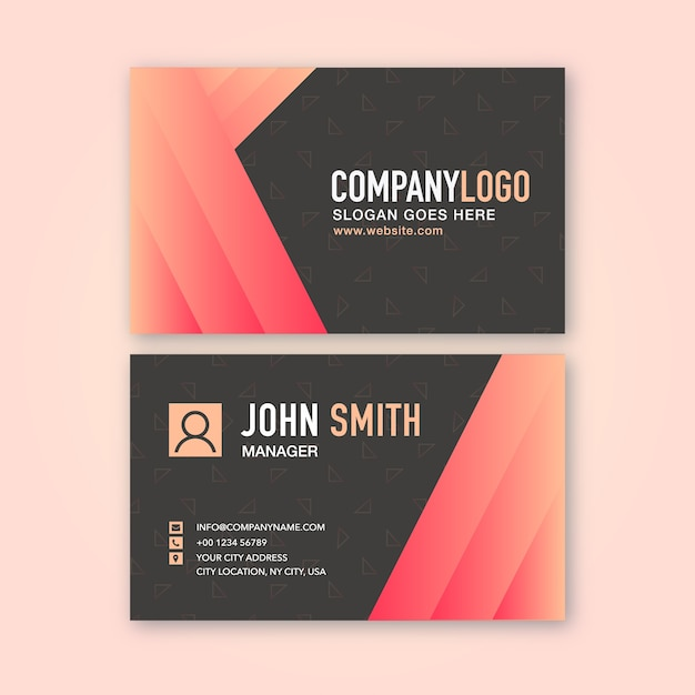Business card with red gradient Premium Vector