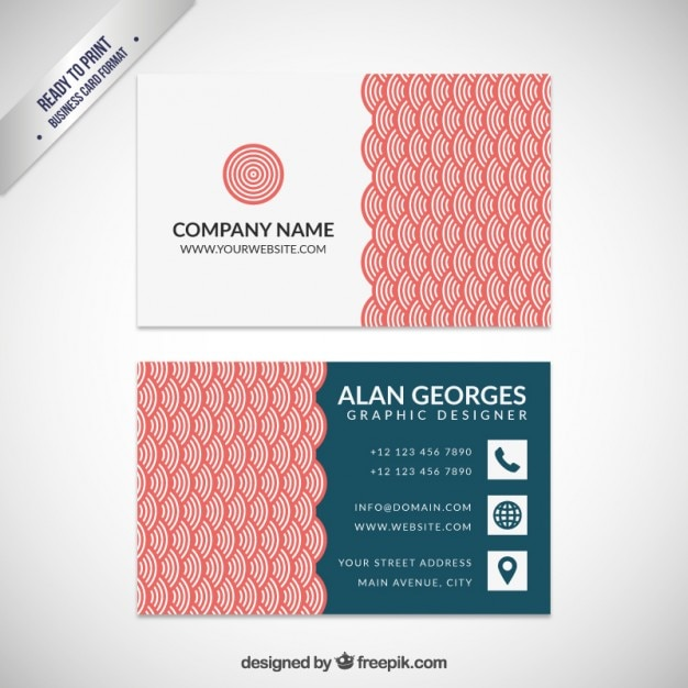 business card with red japanese pattern free vector - Japanese Business Card