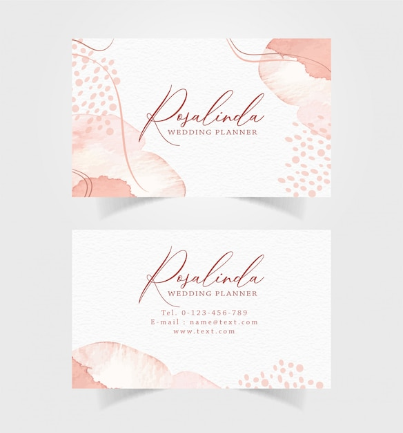 Business card with splash watercolor template Premium Vector