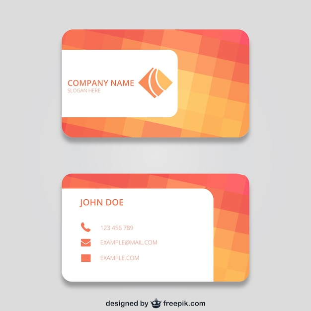 Business card with squares Free Vector