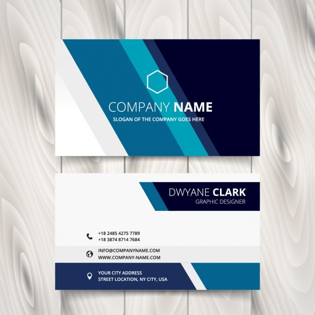 Business card with stripes in blue tones