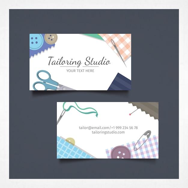 Business card with tailoring studio design Vector | Premium Download