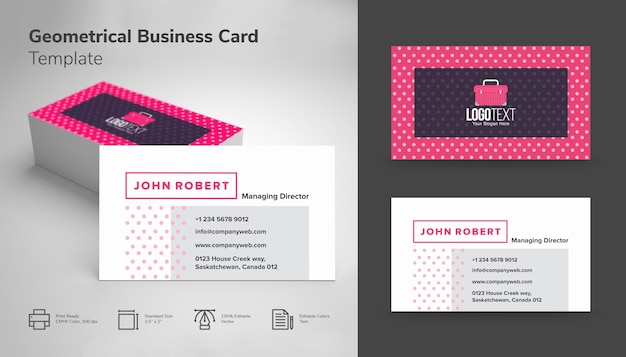 Business card with tiny sharp pink polka dots vector premium download business card with tiny sharp pink polka dots premium vector colourmoves