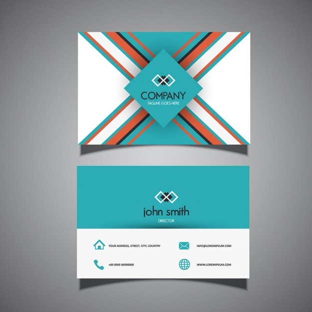 business card with triangular geometric shapes vector free download