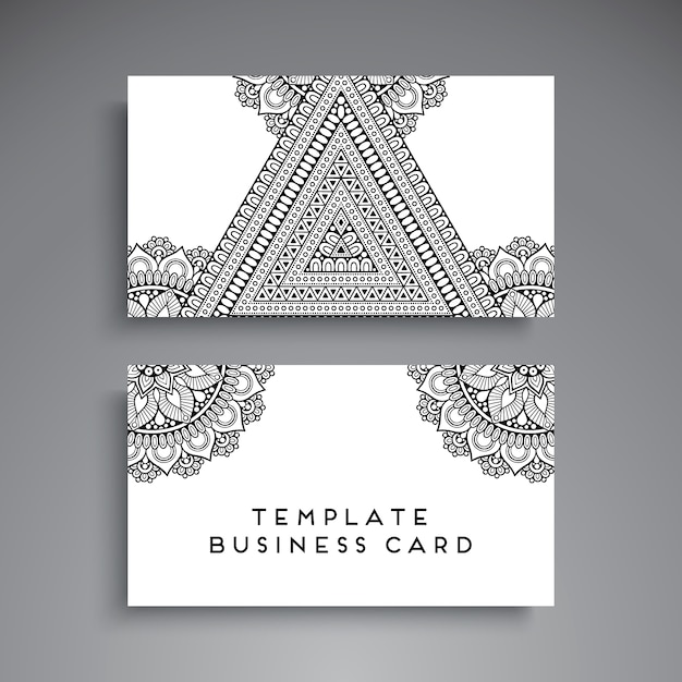 business card with triangular mandala vector premium download