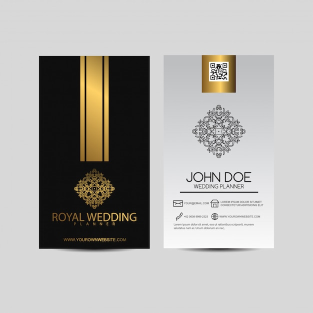 Business card with vintage ornament Premium Vector