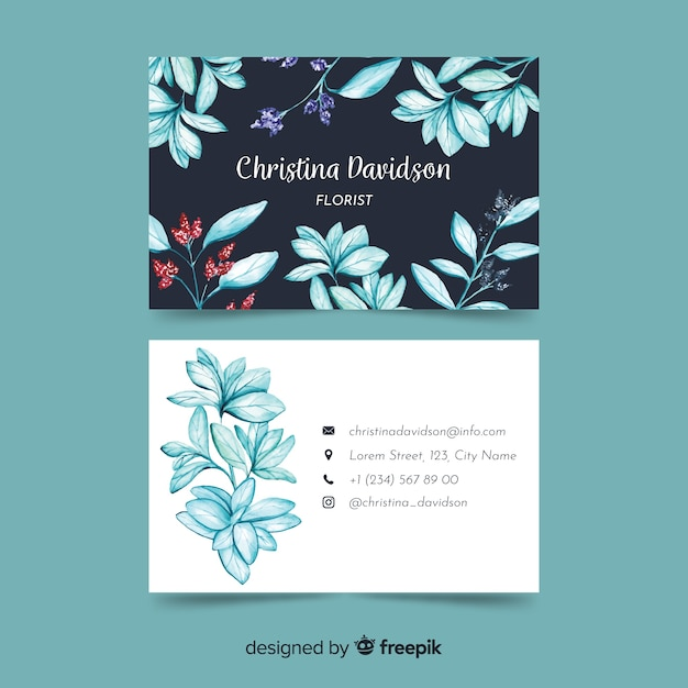 Business card with watercolor floral design Free Vector