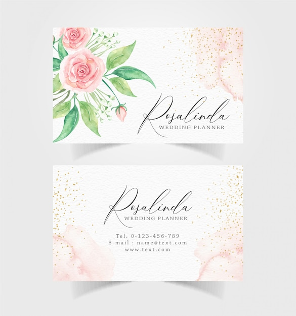 Business card with watercolor flowers and sparkle background Premium Vector