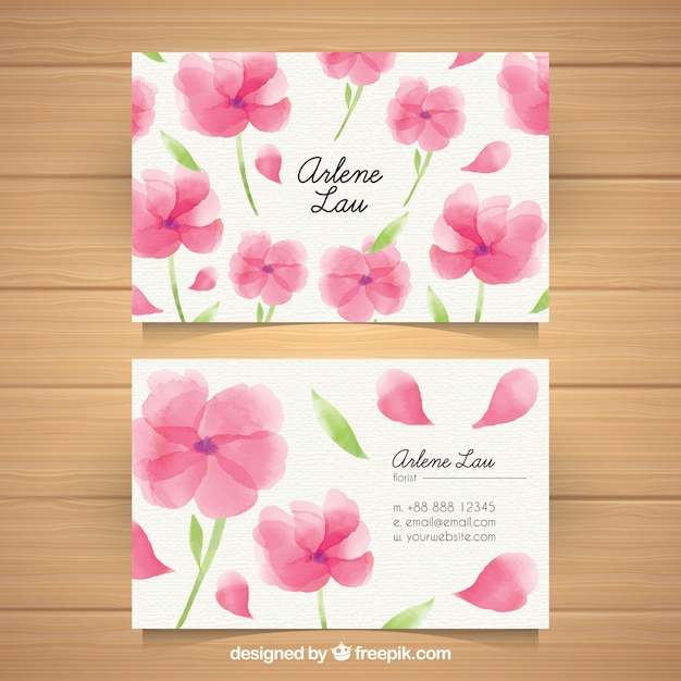 Business card with watercolor flowers Free Vector