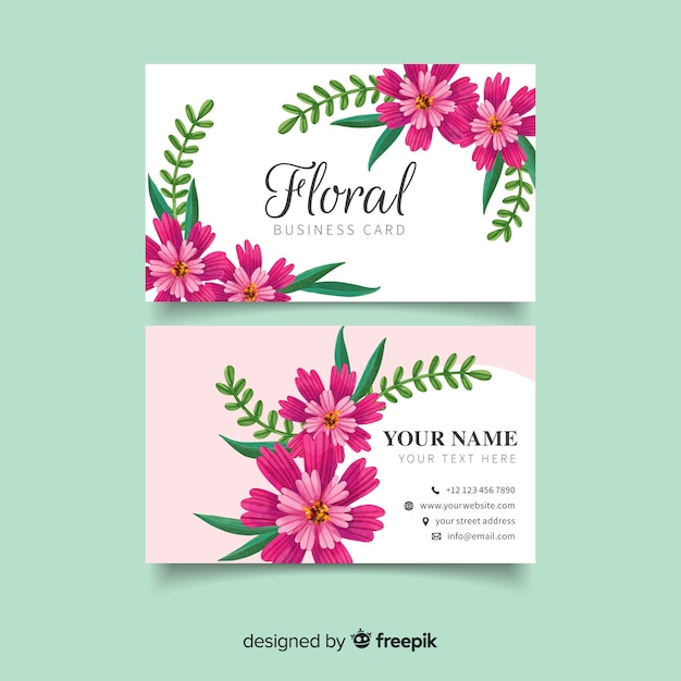 Business card with watercolor purple flowers Free Vector