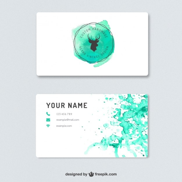 business card with watercolor splashes vector free download