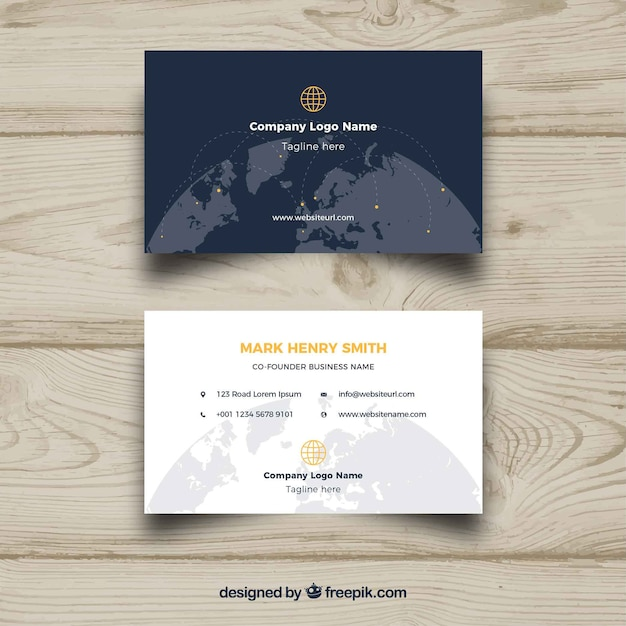 Business card with world globe vector free download business card with world globe free vector reheart Images