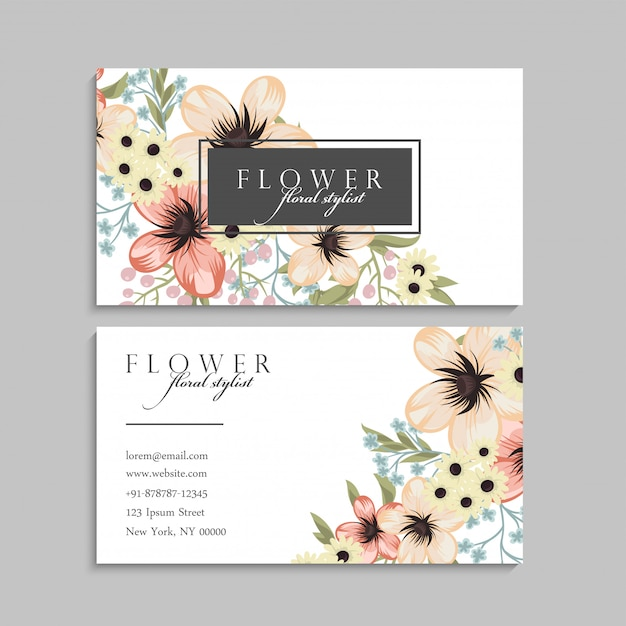 Business card with yellow flowers. template Free Vector